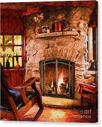 Rocking Chairs Canvas Print - Stone Fireplace by Garland Johnson