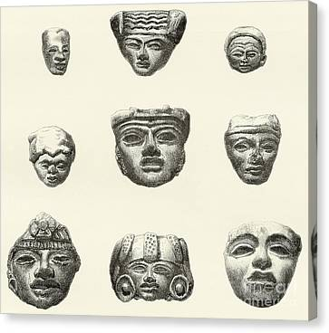Stone Heads And Masks Found At Teotihuacan, Mexico Canvas Print by Spanish School