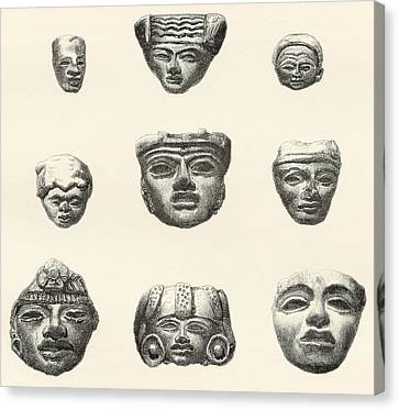 Stone Heads And Masks Found Canvas Print by Vintage Design Pics