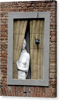 Stone Hearted Woman Peaking Out Of Window Canvas Print