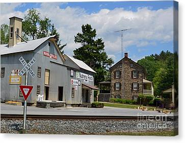 Old Feed Mills Canvas Print - Stone House And Old Feed Mill by Bob Sample
