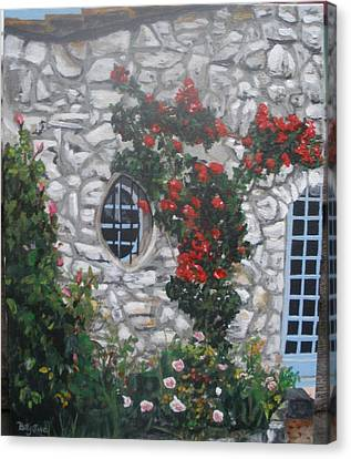Canvas Print featuring the painting Stone House Menton  France by Betty-Anne McDonald