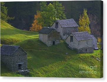 Canvas Print featuring the photograph Stone Houses by Stan and Anne Foster