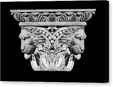 Stone Lion Column Detail Canvas Print by Tom Mc Nemar