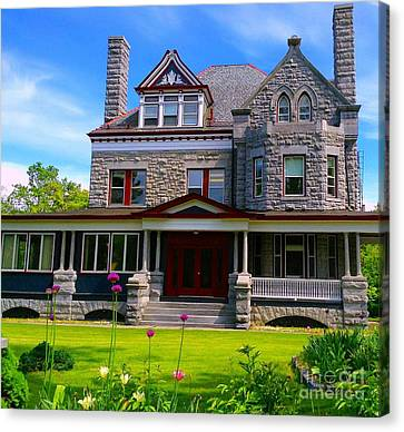 Canvas Print featuring the photograph Stone Mansion Garden by Becky Lupe