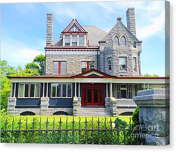 Canvas Print featuring the photograph Stone Mansion Red Doors by Becky Lupe