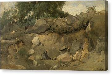 Stone Mine Of Chaise-marie In Fontainebleau Canvas Print by Jean-Baptiste Camille Corot