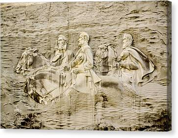 Stone Mountain Carving 2 Canvas Print by Rebecca Stowers