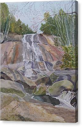 Canvas Print featuring the painting Stone Mountain Falls April 2013 by Joel Deutsch