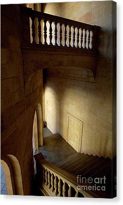 Stone Stairwell Inside The Historic Palace Of Charles V At Alhambra Canvas Print