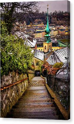 Stone Steps Of Kapuzinerberg Salzburg In Winter Canvas Print by Carol Japp