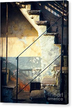 Canvas Print featuring the photograph Stone Steps Outside An Old House by Silvia Ganora