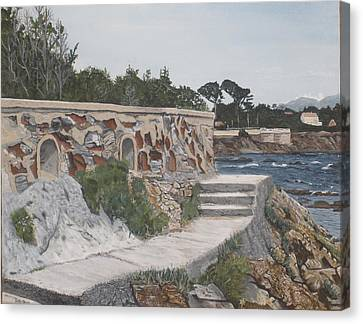 Canvas Print featuring the painting Stone Wall France by Betty-Anne McDonald