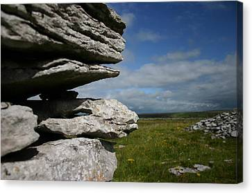 Stone Wall In The Burren Canvas Print by Martina Fagan