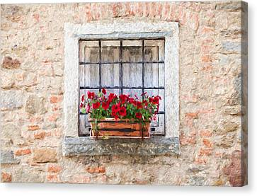 Stone Window Of Cortona II Canvas Print by David Letts