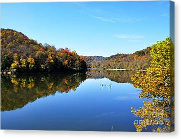 Stonecoal Lake In Autumn Color Canvas Print by Thomas R Fletcher