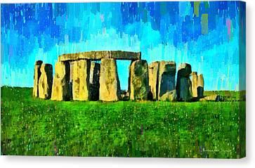 Prehistoric Canvas Print - Stonehenge 2 - Da by Leonardo Digenio