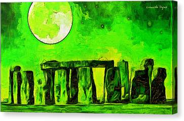 Aged Canvas Print - Stonehenge And Moon - Pa by Leonardo Digenio
