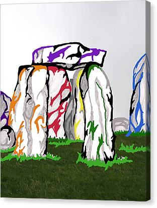 Canvas Print featuring the mixed media Stonehenge Chakras by Mary Mikawoz
