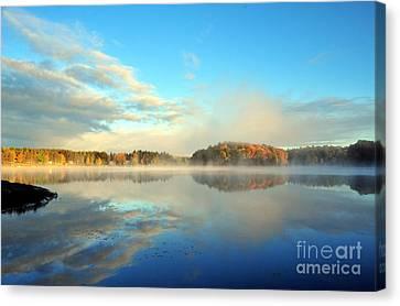 Lakeshore Canvas Print - Stoneledge Lake Morning In October by Terri Gostola