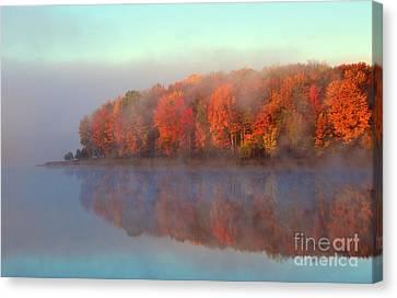 Stoneledge Lake Pristine Beauty In The Fog Canvas Print by Terri Gostola