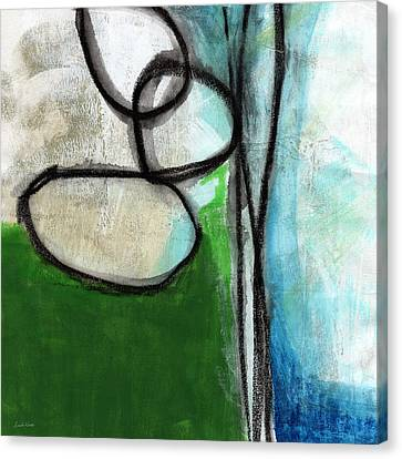 Stones- Green And Blue Abstract Canvas Print by Linda Woods