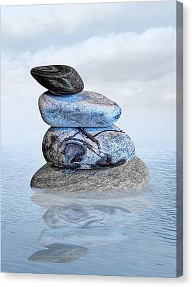 Balance In Life Canvas Print - Stones In Water by Gill Billington