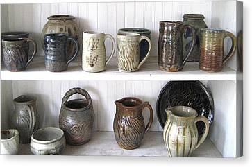 Stoneware Cups Canvas Print by Stephen Hawks