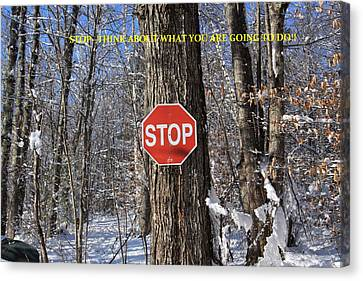 Stop And Think Canvas Print by Lewis Journeyman