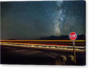 Stop Sign Canvas Print - Stop Before Crossing by Cat Connor