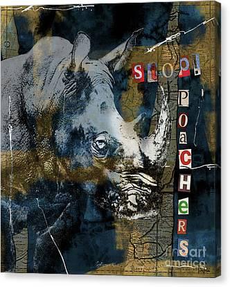 Stop Rhino Poachers Wildlife Conservation Art Canvas Print