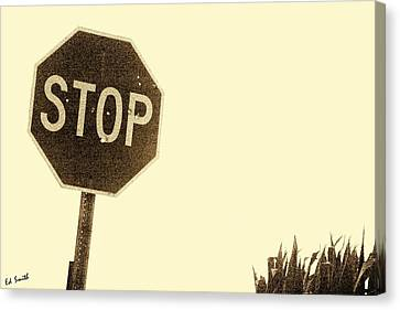 Stop Shooting Stop Signs Canvas Print by Ed Smith