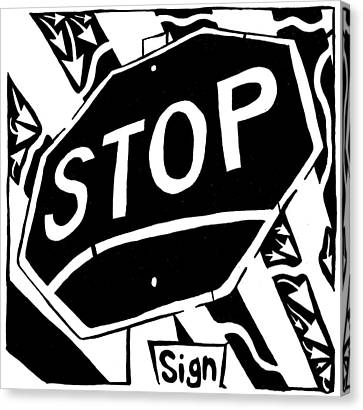 Stop Sign Maze For Letter S Canvas Print by Yonatan Frimer Maze Artist