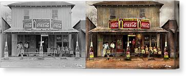 Canvas Print featuring the photograph Store - Grocery - Mexicanita Cafe 1939 - Side By Side by Mike Savad
