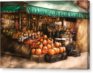 Store - Hoboken Nj - The Fruit Market Canvas Print by Mike Savad