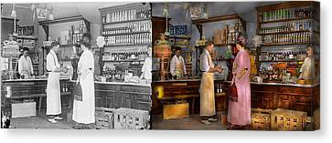 Store - In A General Store 1917 Side By Side Canvas Print by Mike Savad