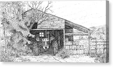 Old Barn Drawing Canvas Print - Stored Up Case by David King