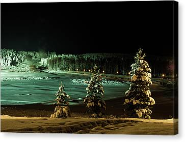 Storforsen In Night Canvas Print by Tamara Sushko