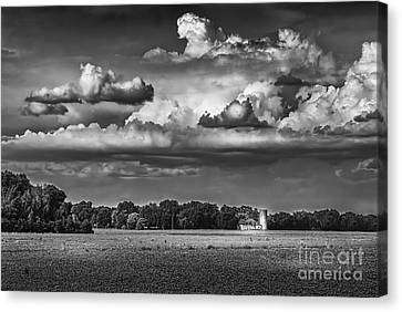 Barbed Wire Canvas Print - Storm A Coming-bw by Marvin Spates