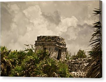 Storm At Talum Ruins Mexico Canvas Print by Douglas Barnett