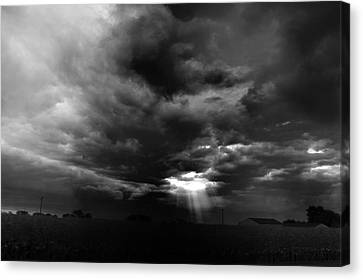 Storm Cell Rural Midwest Bw Canvas Print by Thomas Woolworth