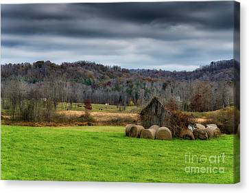 Storm Clouds And Hay Bales Canvas Print