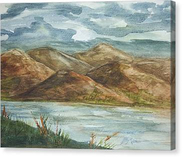 Canvas Print featuring the painting Storm Clouds by Ellen Levinson