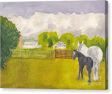 Storm Clouds Mare And Colt At Sunrise Canvas Print