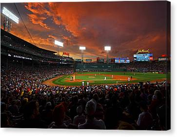 Storm Clouds Over Fenway Park Canvas Print by Toby McGuire