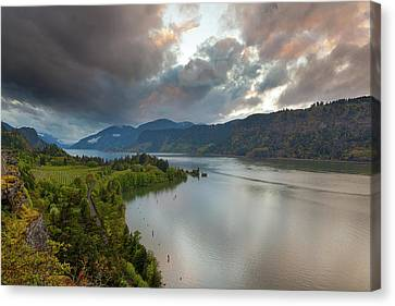 Storm Clouds Over Hood River Canvas Print by David Gn