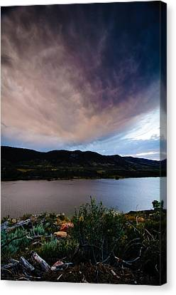 Storm Clouds Over Horsetooth, Colorado Canvas Print by Preston Broadfoot
