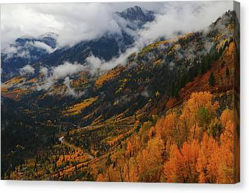Canvas Print featuring the photograph Storm Clouds Over Mcclure Pass During Autumn by Jetson Nguyen