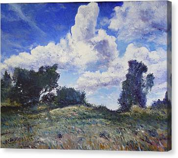 Storm Clouds Over Monte Cardeto Lazio Italy 2009 Canvas Print by Enver Larney