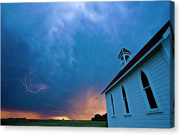 Storm Clouds Over Saskatchewan Country Church Canvas Print by Mark Duffy